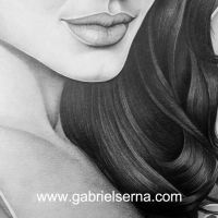 Angelina Jolie - Detail - Pencil Drawing by Gabriel Serna