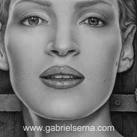 Uma Thurman - Detail - Pencil Drawing by Gabriel Serna